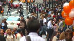 People, crowded midtown Manhattan people everywhere Stock Footage