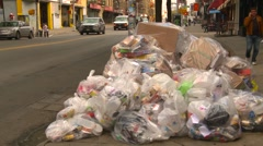 New york City, garbage bag on side of street Stock Footage