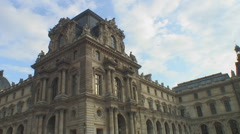 Autumn in Paris - tourists outside Louvre Palace Stock Footage