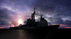 2 Missile Launches from a Guided Missile Cruiser - stock footage