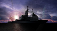 Stock Video Footage of 2 Missile Launches from a Guided Missile Cruiser
