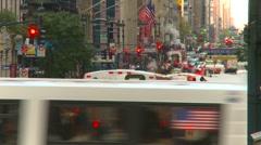 New York City, midtown Manhattan commuter bus rush hour more Stock Footage