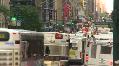 New York City, midtown Manhattan commuter bus rush hour, tight shot Stock Footage