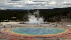Grand Prismatic Spring in Yellowstone National Park - stock footage