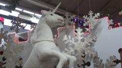 Unicorn at christmas Stock Footage