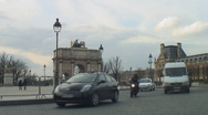 Stock Video Footage of Autumn in Paris - traffic by Arc de Triomphe du Carrousel