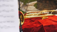 Notes and trumpet Stock Footage
