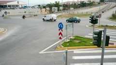 Traffic time lapse at road junction Crete Greece Stock Footage