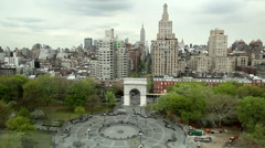 Washington Square Park in New York City - Aerial Stock Footage