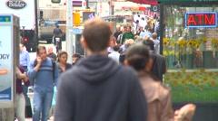 New York City, Noho neighborhood, people walking, long lens Stock Footage
