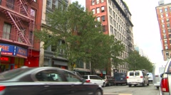 New York City, Noho, some traffic and skyline Stock Footage