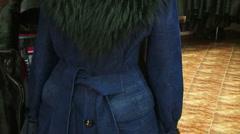Stylish blue coat Stock Footage