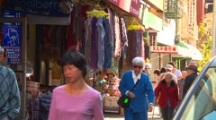 New York City, Chinatown people and shops - stock footage