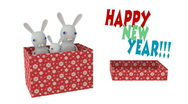 Stock Video Footage of Christmas Red Gift Box with rabbits