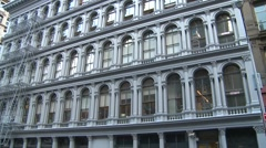 New York City, Soho, people and buildings pan reveal Stock Footage
