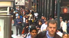 New York City, midtown Manhattan people long lensL further more again - stock footage