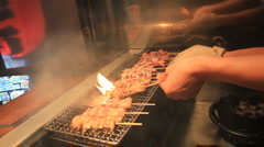 Japanese Barbecue Meats Stock Footage