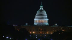 US poltics - Wash DC, Capitol hill, long shot, night Stock Footage