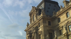 Autumn in Paris -  clouds race by Louvre Stock Footage