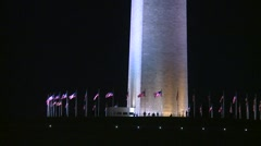 American Icons #32 Wash DC, Washington Monument base tilt to moon Stock Footage