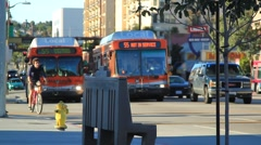 BUSES PASS EMPTY BENCH Stock Footage