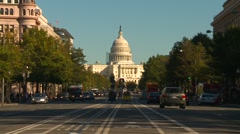 US Politics - Wash DC, late afternoon traffic Pennsylvania ave Capitol hill Stock Footage