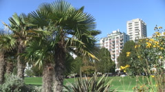 English Bay Vancouver Roller Blader & Bicycler past by Palm Trees Stock Footage