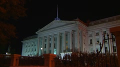 Wash DC, Treasury Dept, wide shot night Stock Footage