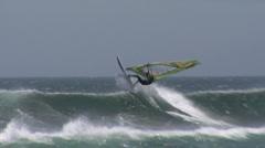 Chile Windsurfer Loop in Slomo Stock Footage