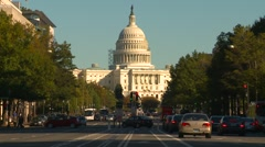 Wash DC, late afternoon traffic Pennsylvania ave Capitol hill medium shot Stock Footage