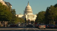 Stock Video Footage of Wash DC, late afternoon traffic Pennsylvania ave Capitol hill medium shot