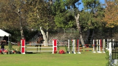 HORSE JUMP 3 4 FRONT Stock Footage