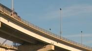 Trucking, two transport trucks on Blue Water bridge Stock Footage