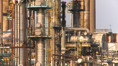 Chemical plant, pipes and vessels, tight shot Stock Footage