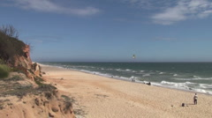 Single kite sailing in Portugal Stock Footage