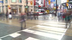 Time-lapse, Yonge and Dundas traffic people Stock Footage