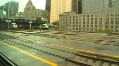Railroad, on train, entering train station, commuter train on siding Stock Footage