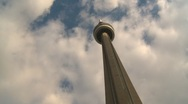CN Tower Timelapse, late afternoon, swirling clouds Stock Footage