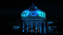athenaeum blue autumn night - stock footage