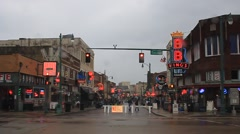 rainy empty beale street - stock footage