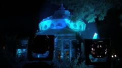 athenaeum blue autumn night - stock footage