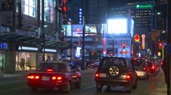 Toronto, Yonge street night, medium shot Stock Footage
