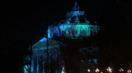 Athenaeum blue autumn night Stock Footage