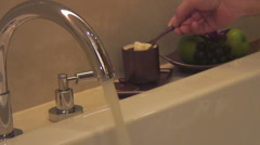 shot sequence: luxurious bathtub fills with water - stock footage