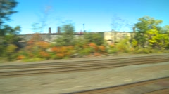 Rail travel, passing through Buffalo industrial suburbs Stock Footage