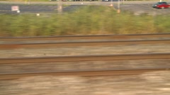 Railroad, passing rail tracks, pov, on board  train Stock Footage