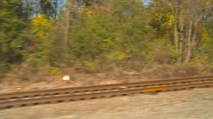 Railroad, passing rail tracks at 60 mph Stock Footage