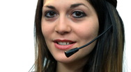 White background beautiful business woman girl talk call center Stock Footage