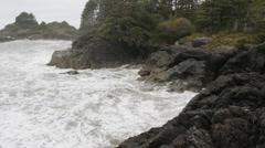 Rocky shoreline. Stormy ocean. Stock Footage
