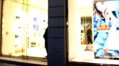 Beautiful girl shop bag shopping Stock Footage